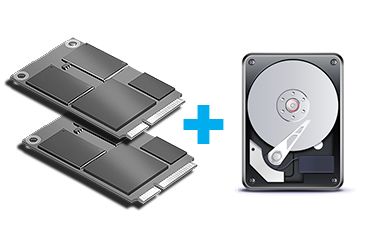 Two mSATA SSD with RAID function support & One HDD Capable